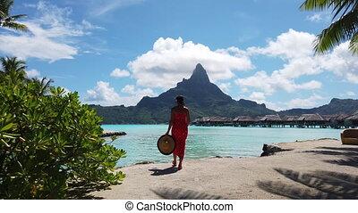 polynésie, monter, vacances, hotel., motu, luxe, bora, otemanu., bungalow, voyage vacances, marche, paradis, francais, femme, plage, overwater, dame, recours