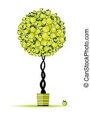 pomme, énergie, arbre, ton, conception, pot