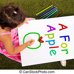 pomme, alphabet, écriture, apprentissage, girl, spectacles, gosse