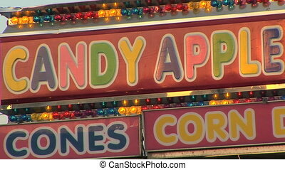 pomme, bonbon, stand