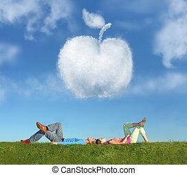 pomme, collage, couple, herbe, rêve, mensonge