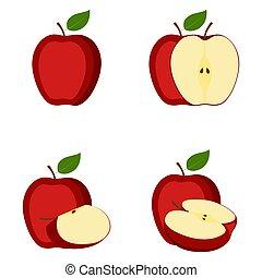 pomme, couper, moitié, illustration, fruit, vecteur, entier