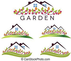 pomme, jardin, maison