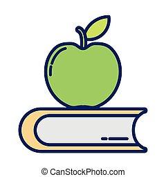 pomme, ligne, livre, fermé, remplir, icône, délicieux, style