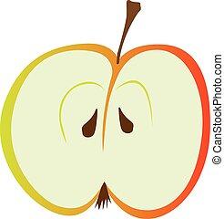 pomme, rouges, moitié
