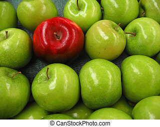 pomme, rouges, une