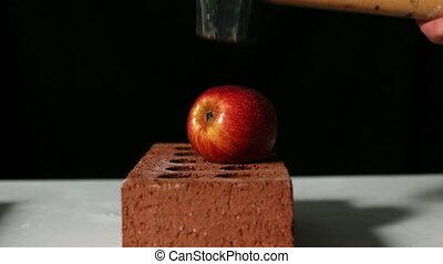 pomme, sur, casser, briques, marteau