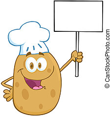 pomme terre, haut, signe, chef cuistot, tenue, vide