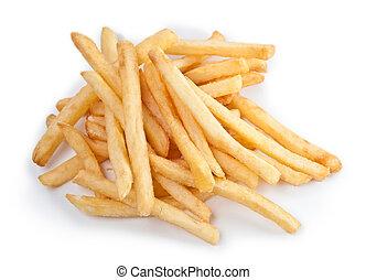pommes terre, poignée, frire, francais, fin