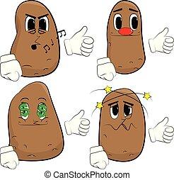 pommes terre, signe., haut, confection, pouces