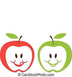 pommes, vecteur, rouge vert