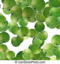 pommes vertes, fond