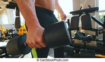 pompage, réservoir, culturiste, épaule, sien, sommet noir, muscle