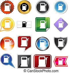 pompe, ensemble, essence, étiquette