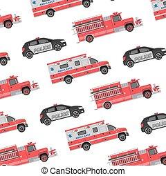 pompe incendie, police, fond, ambulance