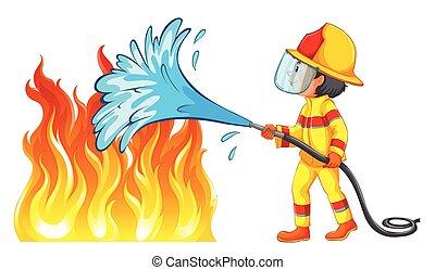 pompier, dehors, brûler, mettre