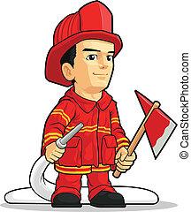 pompier, dessin animé, garçon