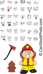 pompier, dessin animé, set2, gosse