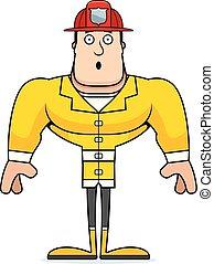 pompier, dessin animé, surpris