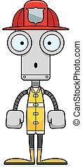 pompier, dessin animé, surpris, robot