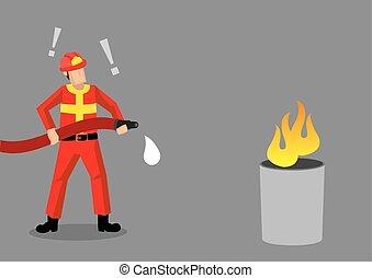 pompier, illustration, vecteur, échouer, épique, dessin animé