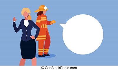 pompier, ouvriers, femme affaires, caractères