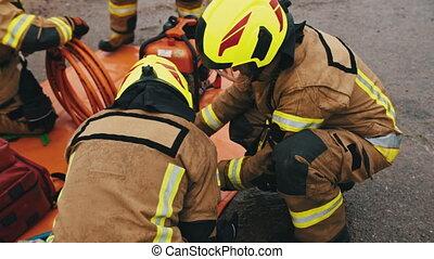 pompiers, accident, fracas, scène, voiture