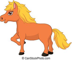 poney, dessin animé, cheval, mignon