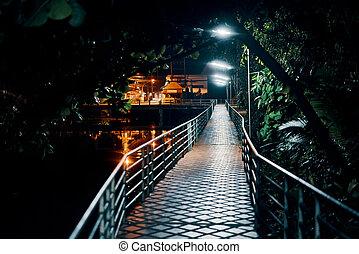 pont, éclairé, nuit