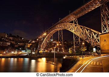 pont, éclairé, portugal, oporto, dom, luis, nuit