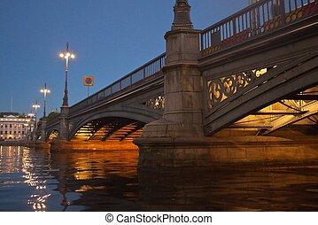 pont, éclairé, stockholm