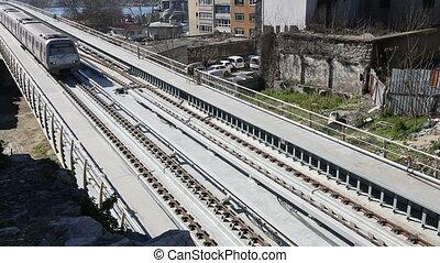 pont, 13, train, station métro