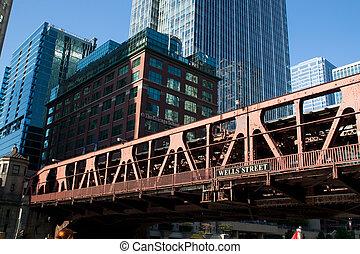 pont, accross, vieux, rivière, chicago