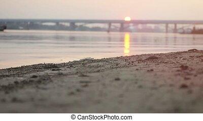 pont, athlétique, haut, brouillé, arrière-plan., courant, espadrilles, usure, slowmotion, fin, plage, coucher soleil, homme