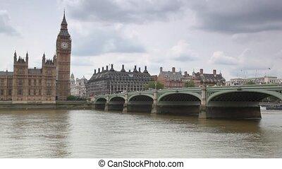 pont, ben, grand, westminster, maisons, londres, parlement