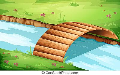 pont bois, rivière