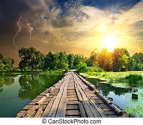 pont bois, sur, éclair