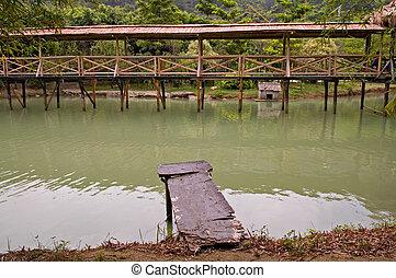 pont, bois, tonnelle, promenade