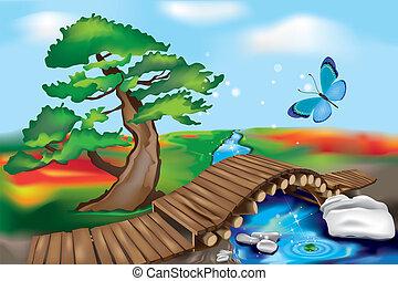 pont bois, zen, paysage
