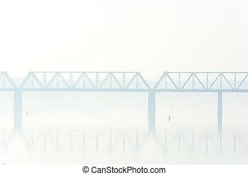 pont, brouillard