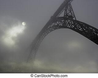 pont, brouillard, vieux, fer