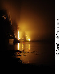 pont, brume
