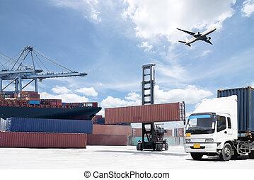 pont, cargo, conteneur transport, chantier naval, fonctionnement, grue