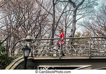 pont, central, parc ville, york, croisement, nouveau, girl, manhattan