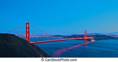 pont, coucher soleil, portail, doré