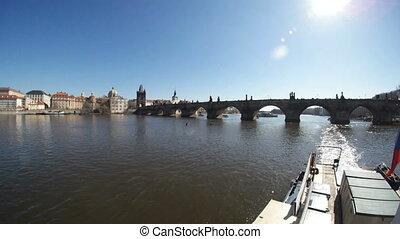 pont, coup, printemps, prague, charles, canot automobile, rivière vltava