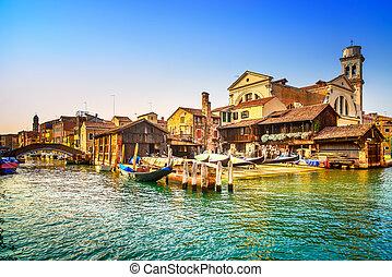 pont, dépôt, canal, venise, italie, gondole, eau, gondoles, europe., ou, sunset.