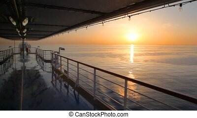 pont, en mouvement, croisière, coucher soleil, bateau, vue