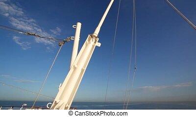 pont, en mouvement, mer, bateau croisière, vue