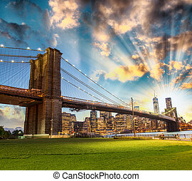 pont, horizon, abrutissant, brooklyn, park., nuit, manhattan